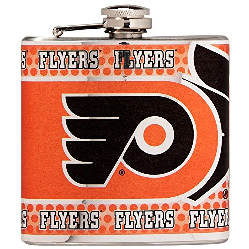 Great American Products NHL Philadelphia Flyers Stainless Steel Hip Flask with Metallic Graphics, 6 oz, Silver -