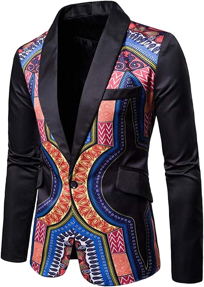 Bloomyma Men Casual Cocktail Chinese Style Party Slim 1 Button Dress Blazer Jacket Suit Coat