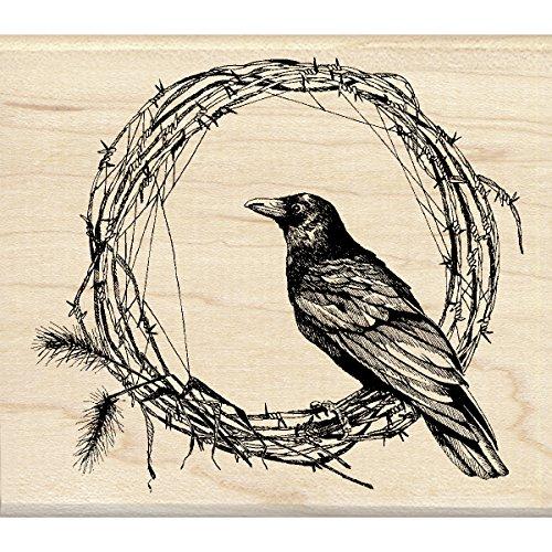 Inkadinkado 60-01108 Crow Wreath Wood Stamp, Black -