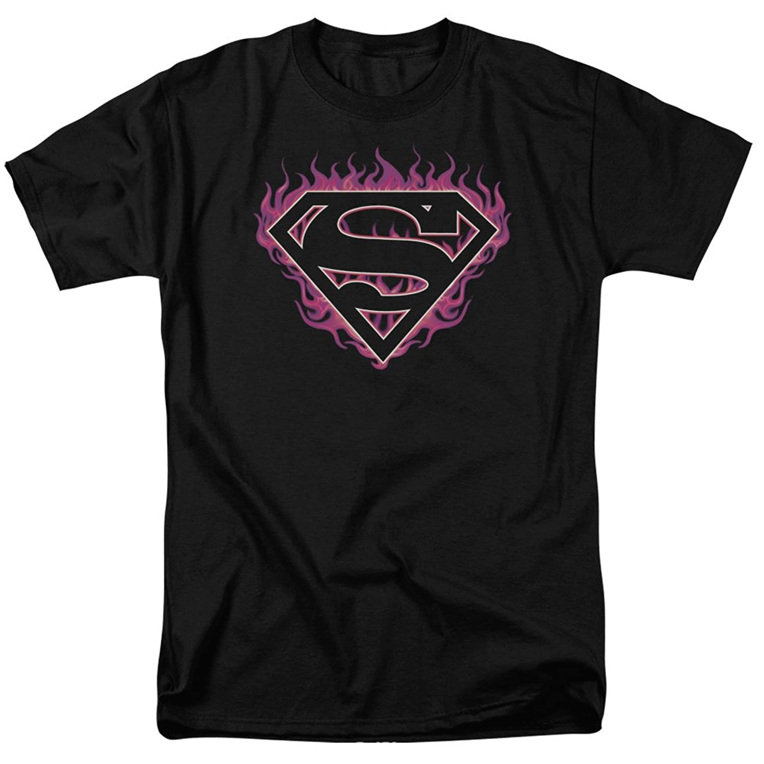 Superman DC Comics Classic S Shield Logo Fuchsia Flames Adult T-Shirt