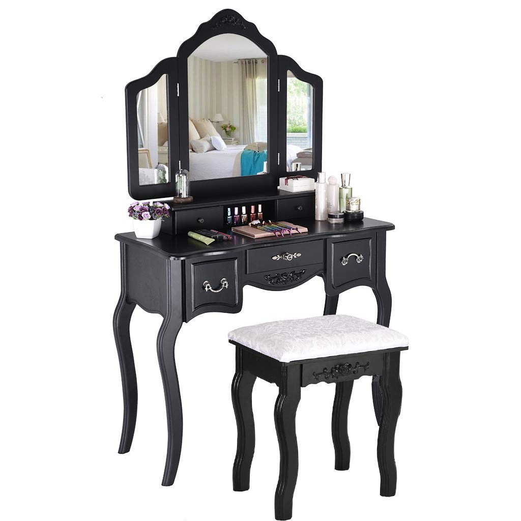Vanity Beauty Station,Makeup Table Wooden Stool 3 Mirrors and 5 Organization Drawers Set Furniture Bedroom Women Princess Girls Kids by BBtime (Black) by BBtime