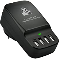 mbeat A Gorilla Power 34W 4-Port Universal Portable USB Travel Device Charger with AU/US/UK/EU Adaptors, CHGR-4U-BLK