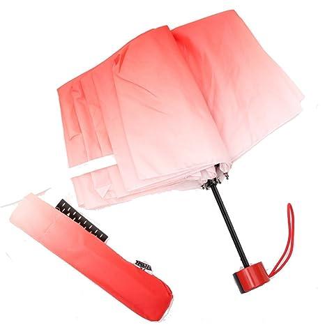 LybCvad paraguas Sombrilla gradiente creativa Sombrilla plegable Sombrilla doble transparente para mujer Sobre la manija retro
