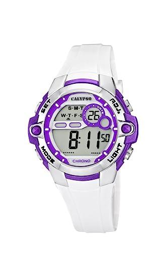Calypso watches Calypso watches - Reloj Digital de Cuarzo para niña con Correa de plástico, Color Blanco: Amazon.es: Relojes
