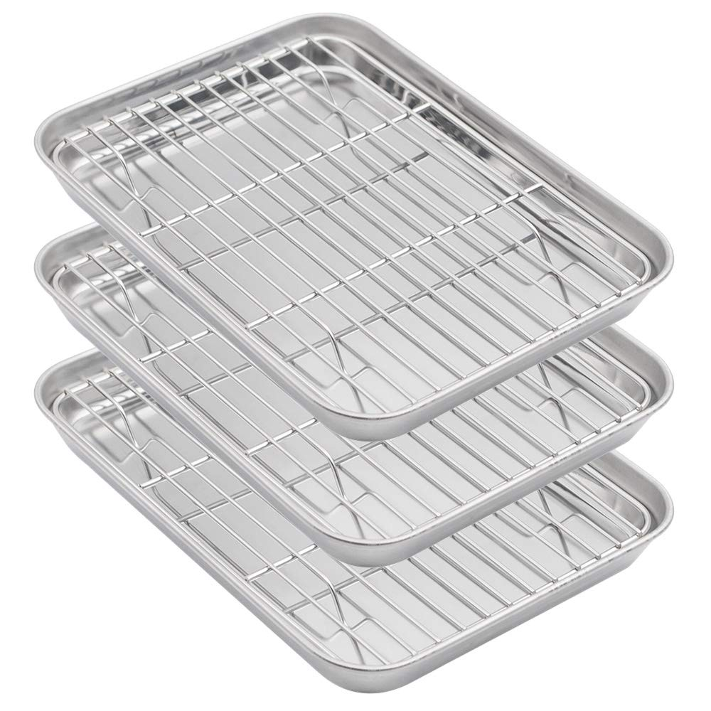Aspire Baking Sheets and Racks Set, Stainless Steel Oven & Dishwasher Safe Wire Rack, Easy Clean-S 3 Pcs