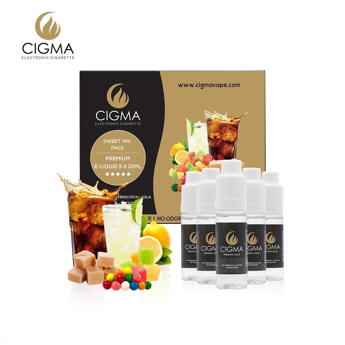 CIGMA 5 X 10ml E Liquid Sweet Mix NUEVOS SABORES | Bubble Gum | Tutti-Frutti | Soda de limón | Butterscotch | Cola | Ingredientes de alto grado | VG & PG ...