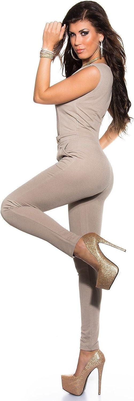 in diversi colori e taglie KouCla K6721 Tuta elegante con spacco sulla schiena e fibbia dorata