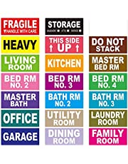 """Pack of 540 Large Home Moving Labels 21 Different Color Coded Stickers for Boxes Moving Supply - Fragile, Kitchen & Living Room Stickers Increased for Best Efficient Use 1.6"""" x 3.6"""""""
