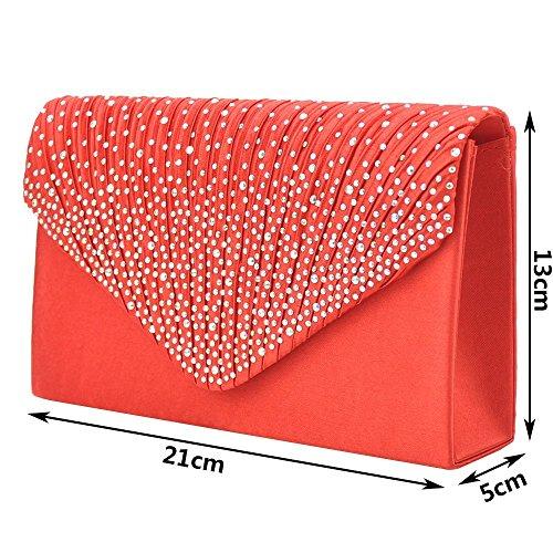 5 Clutch Envelope Wedding Bag 13CM Red Cluth Bag 21 Crystal aloiness Rhinestone Purse xv56qB6w