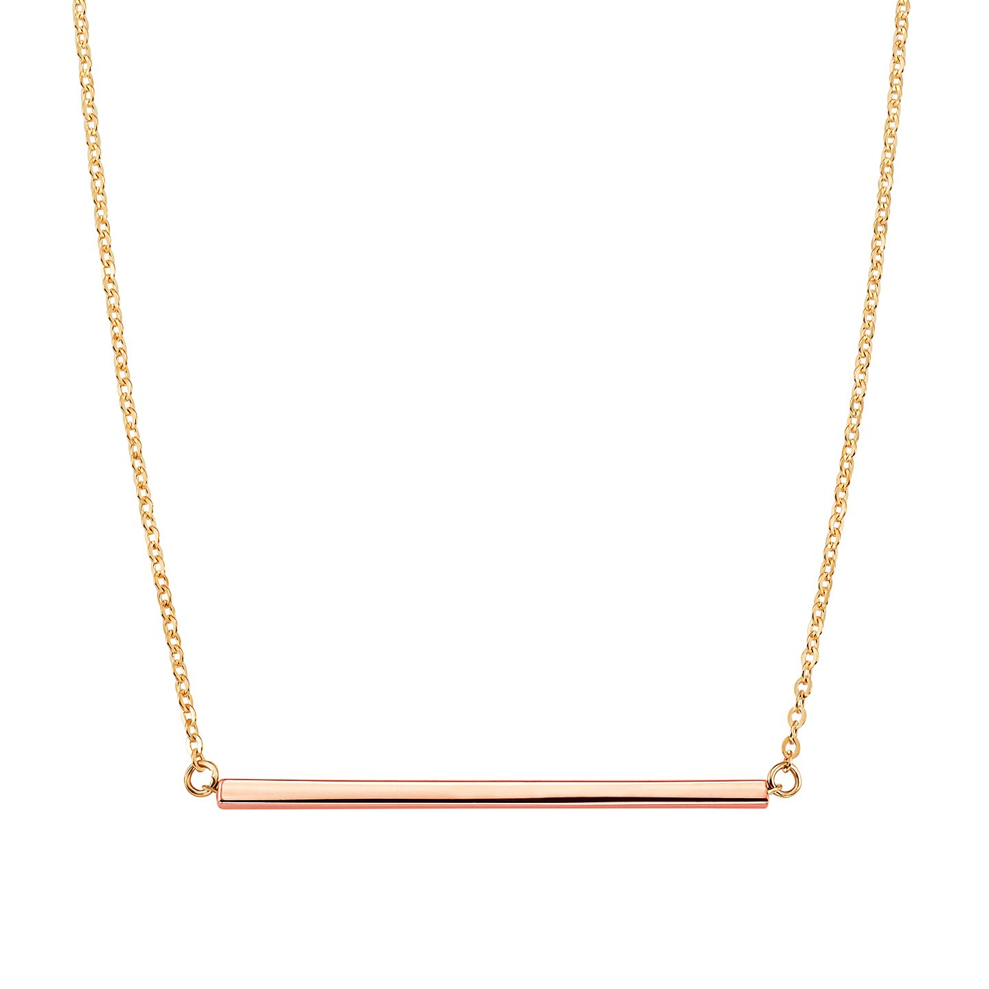 215dd5eb8 Amazon.com: Jewel Connection 14K Modern Rose Gold Bar Necklace with  Adjustable Yellow Gold Chain: Jewelry