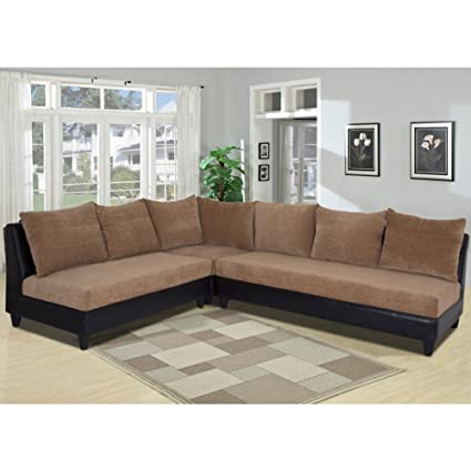Furny Daisy Six Seater L-Shaped Sofa (Camel Brown)