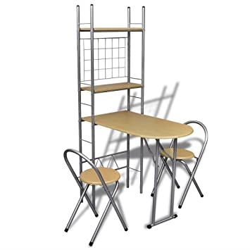 Anself - Set de bar plegable para el desayuno con dos sillas,color marrón claro,marco de acero: Amazon.es: Hogar