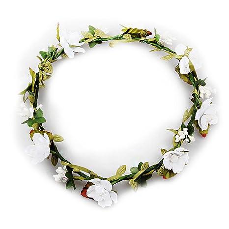 TININNA Donne Ragazze Elegante Spiaggia di estate Fasce per capelli Corona  di fiori Copricapo da sposa 6f908cb0ea31