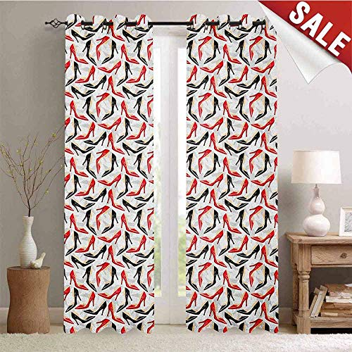 Red and Black, Waterproof Window Curtain, Women Fashion Pattern with High Heel Stiletto Shoes Ladies Footwear, Decorative Curtains for Living Room, W84 x L84 Inch Scarlet Black Beige