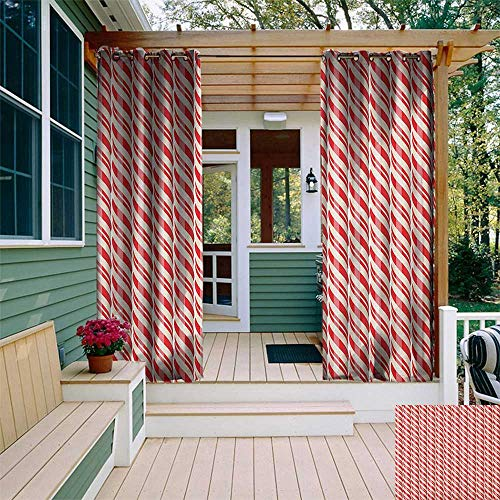 leinuoyi Candy Cane, Outdoor Curtain Modern, Red Christmas Candies Pattern with Diagonal Stripes Traditional Winter Sweets, Fabric W72 x L108 Inch Red Cream ()
