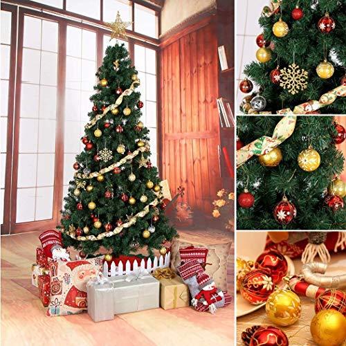 Glittering Christmas Tree Pendant Necklace Hanging Decorative Balls Ornaments Floral Stripes Set Wedding - Ornament Stripe Ball