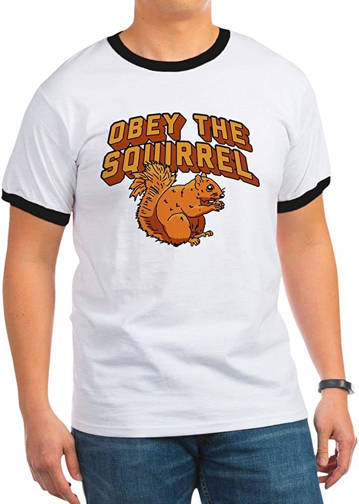 CafePress Obey The Squirrel Ringer T-Shirt 61lsUKLOoNL