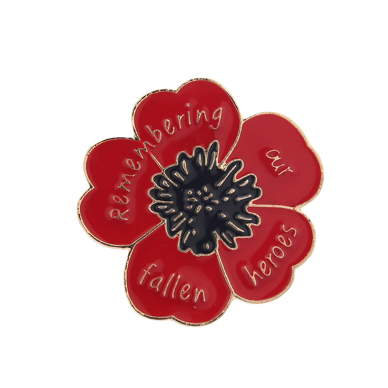 GAOZONGTER Red Purple Women's Poppy Brooches Veterans Day Memorial Day  Poppy Pins Enamel Lest we Forget