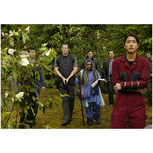 """Boomer"" in Red Jumpsuit leading ""Apollo"" and Oracle in Forest on Caprica to Kobol via The Arrow - Starbuck Helo and crew with Guns Standing Guard - Grace Park Tahmoh Penikett Jamie Bamber Katie Sackhoff - Battlestar Galactica 8x10 Photograph - HQ - BSG"