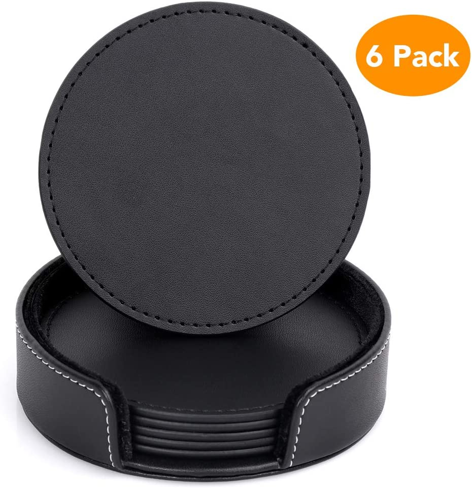 PU Black Leather Coasters, Kmeivol Coasters Set of 6 with Holder, Coasters for Drinks, Coffee Coaster Protect Furniture from Water Marks Scratch and Damage
