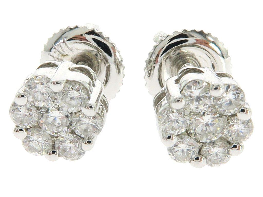14K White Gold 0.49 Carat Genuine Round Cut Diamond TraxNYC Cluster Stud Earrings