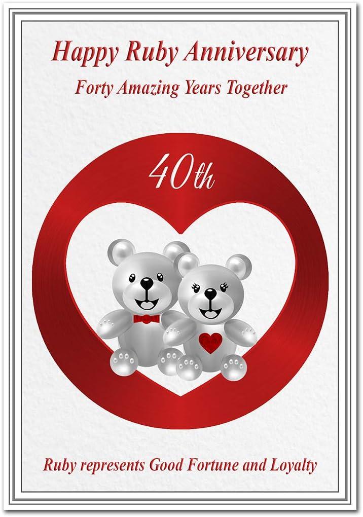 Wedding Day Card Anniversary Greeting Card Pop Up Blank Unusual Ruby Wedding