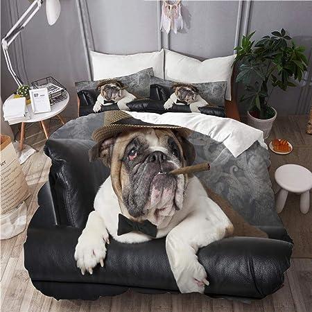 Copripiumino Bulldog Inglese.Mokale Set Biancheria Da Letto Bulldog Inglese Ritratto In Pelle