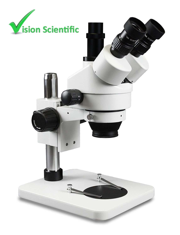 Vision Scientific VS-1FZ Trinocular Zoom Stereo Microscope, Paired 10x Widefield Eyepiece, 0.7x—4.5x Zoom Range, 3.5x—90x Magnification Range, 0.5x & 2x Auxiliary Lens, Pillar Stand