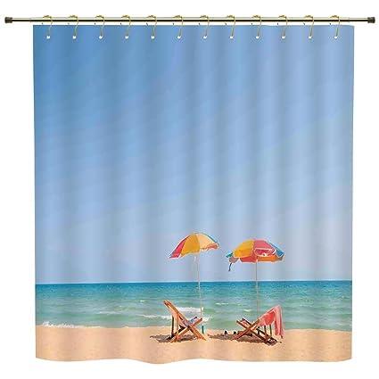 Shower CurtainSeaside DecorBeach Chair Umbrella On Beach Leisure Tourist Attractions Decorative Photo