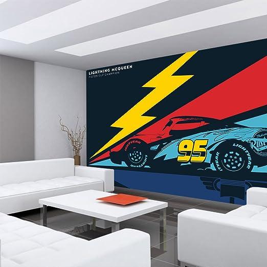 Papel Pintado Fotográfico Premium pared Foto pintado mural pintado de – Papel pintado para niños Disney Cars Auto Flash Carreras Lightning MC Queen Multicolor – No 4449, Fantasía, Fototapete 152x104cm PREMIUM PLUS: