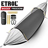 ETROL Hammock, Upgrade Double & Single Camping Hammock with Mosquito Net, 2 Tree Straps, 2 Carabiners, 2 Aluminium Bent Poles