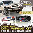 """Complete DRL Wiring Adapter Harness Kit for 7"""" Round LED Headlight with Daytime Running Lights - 1997-2016 Jeep Wrangler TJ LJ JK - Made in USA"""