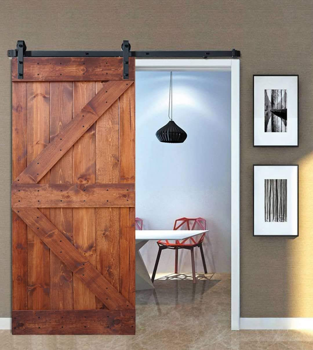 36inX84in K Series DIY Solid Interior Barn Knotty Wood Painted Door WELLHOME 6.6 FT Sliding Hardware Kit black