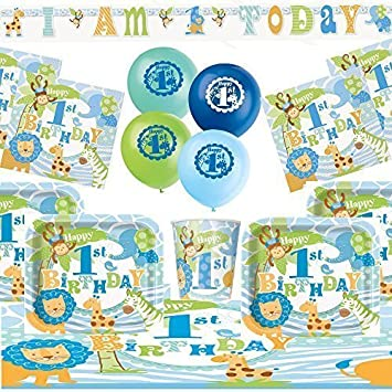 1st Birthday Party Kit For 8 Blue Baby Boy Safari Theme