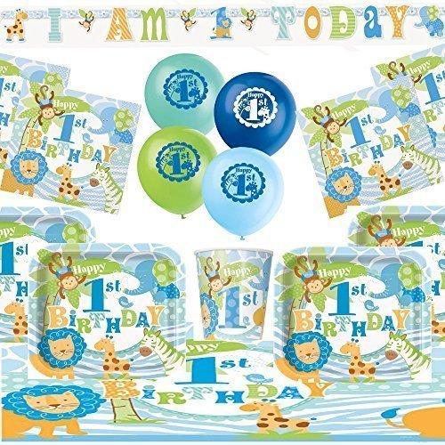 1st Birthday Party Kit For 8 Blue Baby Boy Safari Theme Amazoncouk Toys Games