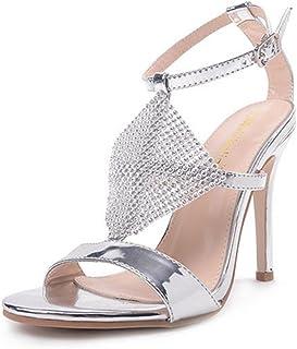 MNII Ladies Low Mid High Heels Strass Sandales de mariée Strappy Kitten Healed Stiletto Shoes Wedding Evening Party Prom- Mode d'été