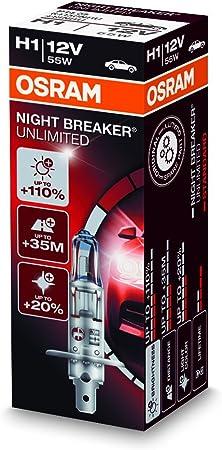 110/% luce 12V 55W Coppia Lampade Osram 64150NBU H1 Night Breaker Unlimited