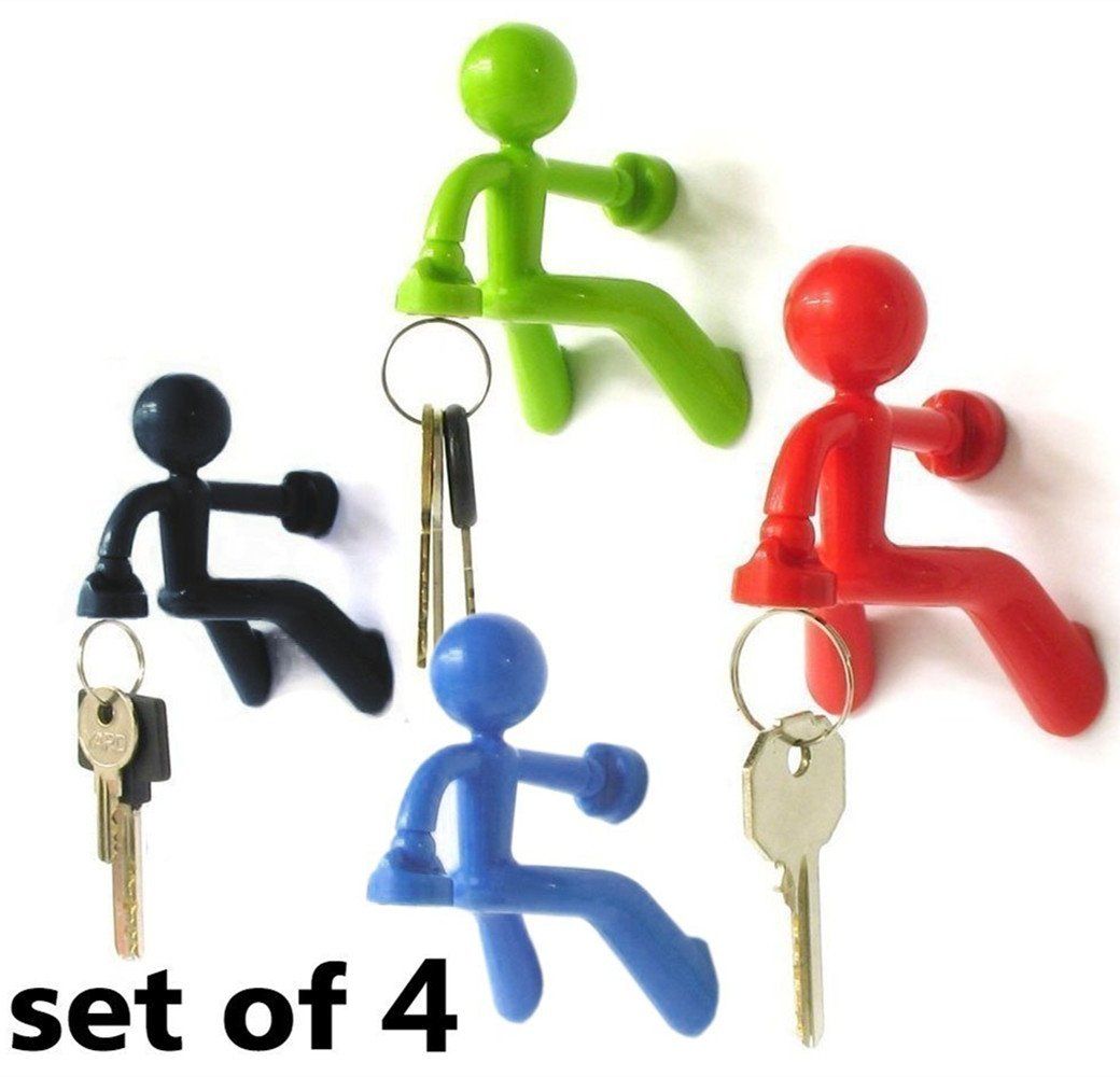 WJkuku Most Fantastic Key Holder with Wall Climbing Man Design | Ultra Strong Magnet and Silicone Material that Holds Up To 1.4 Pound | Special Set of 4 (Black, Green, Red, and Blue) Luckyjj