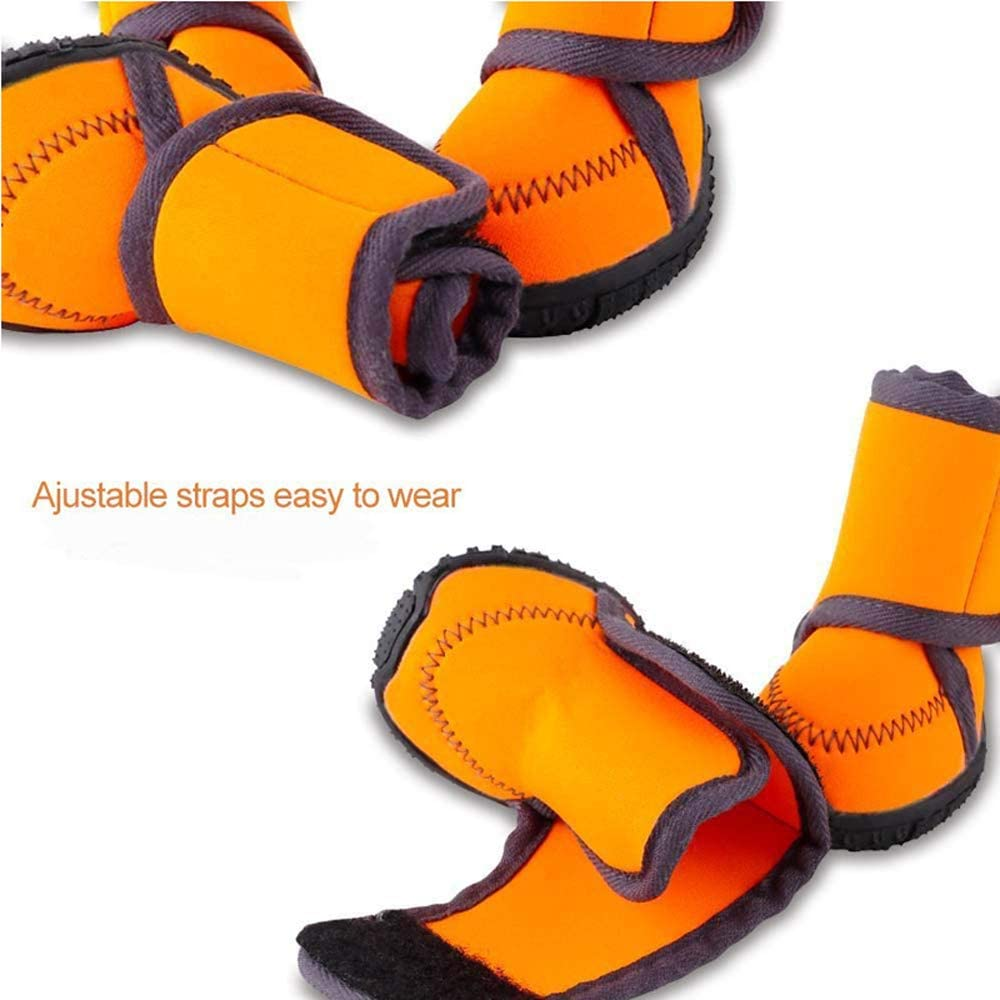 Pet Dog Winter Warm Snow Booties Waterproof Anti-Slip Protective Shoes Boot Orange Rubber Rain Shoes for Medium and Large Dogs Pet Products,XS