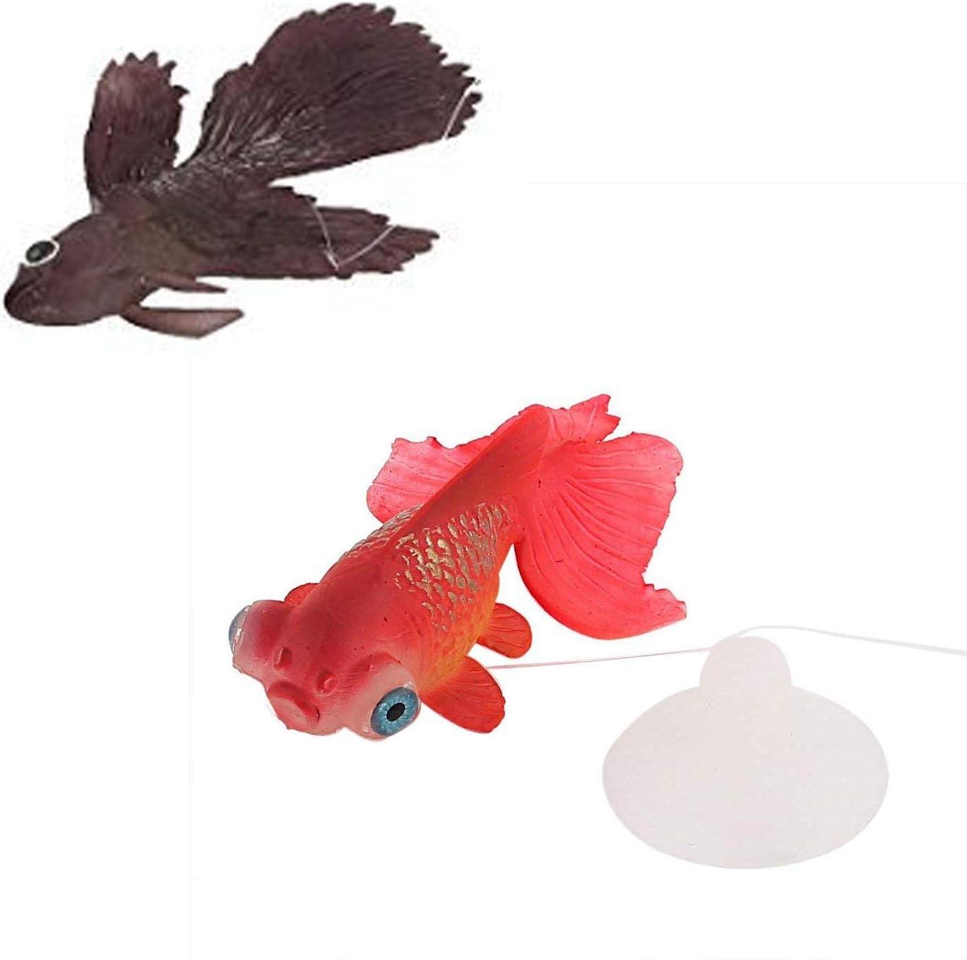 LDEXIN 2pcs Silicone Artificial Aquarium Floating Goldfish Decoration Fish Tank Suction Cup Decor Underwater Saltwater Swimming Fish Ornament