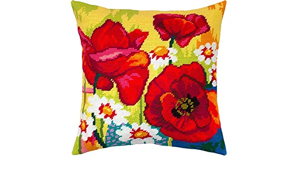 Throw Pillow 16/×16 Inches European Quality Needlepoint Kit Still Life with Poppies and Daisies Printed Tapestry Canvas