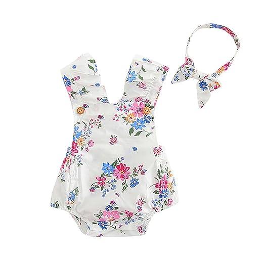 f1d6c50b3e52 Amazon.com  Clearance! Ruhiku GW Infant Baby Girls  Jumpsuit Flower ...