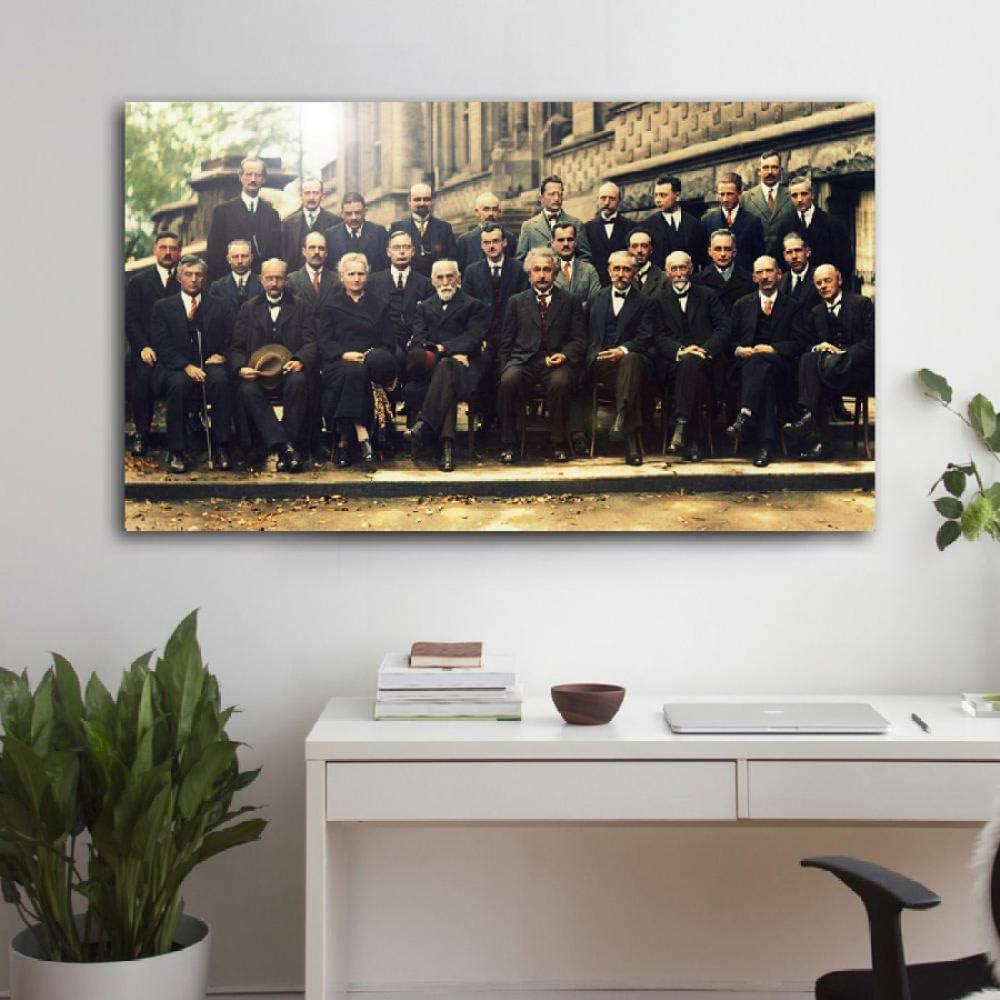 WSHIYI Vintage Poster Solvay Konferenz Ber/ühmtes Foto von Wissenschaftlern Leinwanddrucke f/ür Wohnkultur Malerei Wandkunst-50x90cm ohne Rahmen