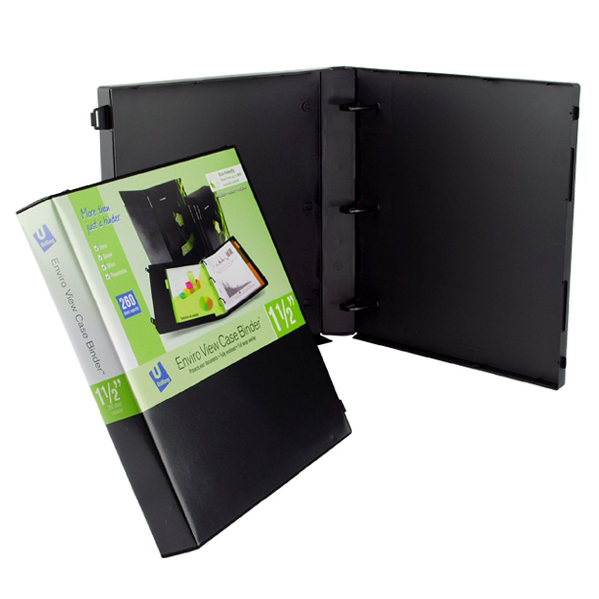 UniKeep 3 Ring Binder - Black - Case View Binder - 1.5 Inch Spine - With Clear Outer Overlay - Box of 15 Binders