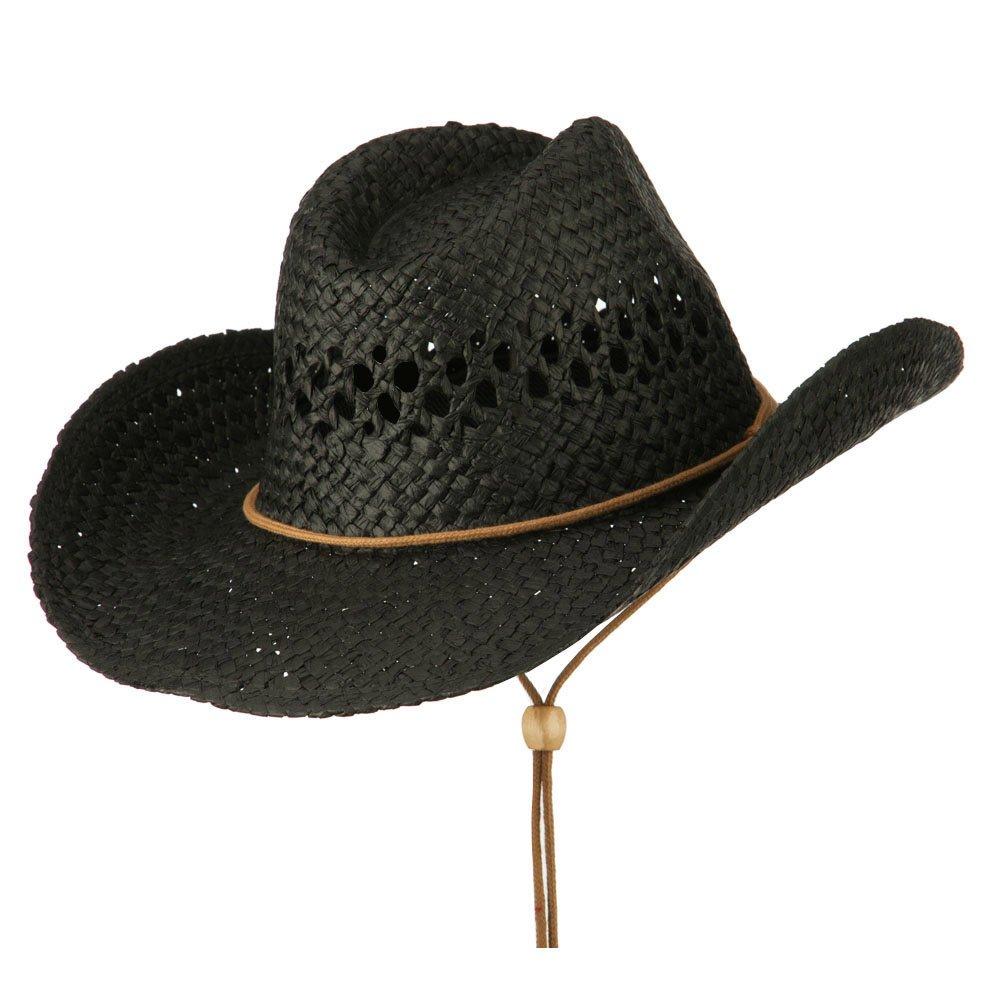 Adjustable Chin Strap Cowboy Hat - Black S-M at Amazon Men s Clothing store  6f66b3d7b721