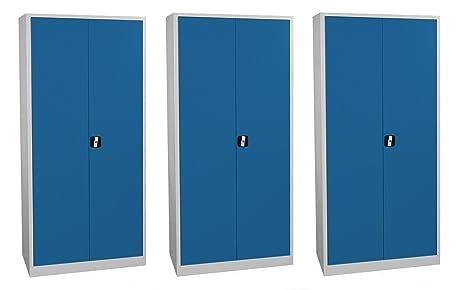 Armadi Per Ufficio Con Serratura : Porta a battente armadio xxl blu in lamiera di acciaio a due