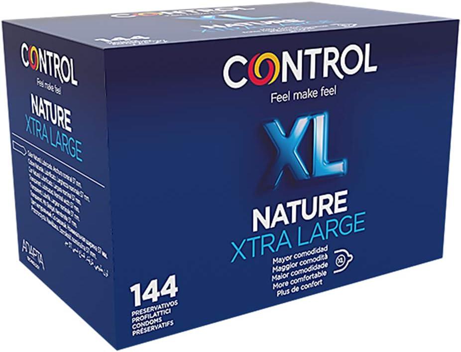 Control Nature XL Preservativos - Caja de condones tamaño más grande XL - Caja de 144 unidades (pack extra grande) - Gama placer natural, lubricados, perfecta adaptabilidad: Amazon.es: Salud y cuidado personal
