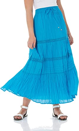 Roman Originals Femme Jupe Maxi Longue Dentelle Bohème Coton Léger Longues Jupes Confortable Printemps Ete Vacances Croisière Bleu Turquoise