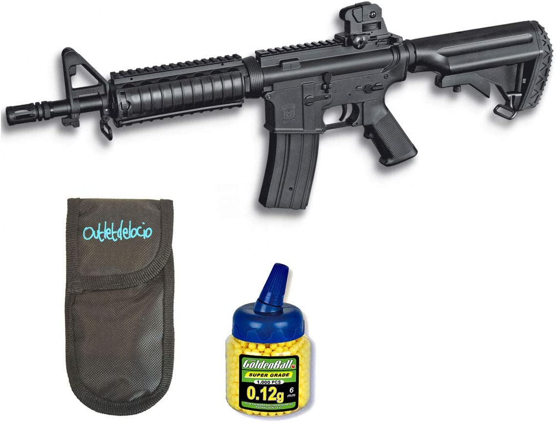 Outletdelocio. Pack Rifle Airsoft M4 A1 AEG Electrico. Calibre 6mm. + Funda Portabalines + Biberon 1000 Bolas. 23054/21993