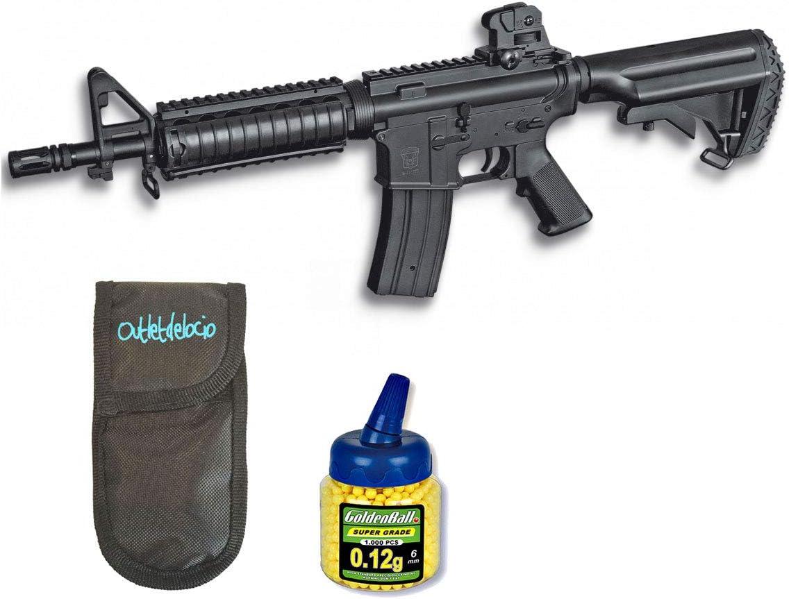 Outletdelocio. Pack Rifle Airsoft M4 A1 AEG Electrico. Calibre 6mm. + Funda Portabalines + Biberon 1000 Bolas. 23054/21993